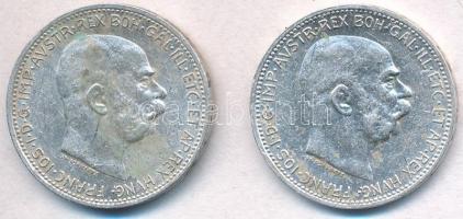Ausztria 1915. 1K Ag Ferenc József (2x) T:2 fo. Austria 1915. 1 Corona Ag Franz Joseph (2x) C:XF spotted