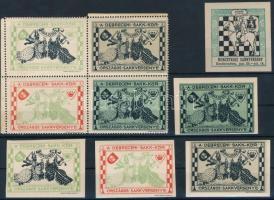 1913 Debrecen Sakkverseny 4-es tömb + 4 db vágott levélzáró + 1927 Kecskemét Sakkverseny vágott levélzáró