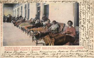 Budapest XII. Erzsébet királyné szanatórium, emeleti fekvőfolyosó, fekvő kúra a szabadban
