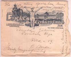1937 2 db levél a Lukács fürdő díszes fejléces levélpapírján, eredeti borítékkal