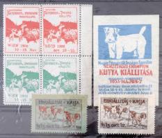 1906-1933 Kutya kiállítás 7 db levélzáró, közte 4-es tömb