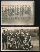 cca 1920-1929 Futballcsapatok, 2 db fotó, egyik hátoldalon feliratozva, 9x12 és 9x14 cm