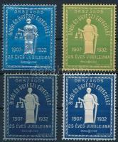 1932 Országos Bírói és ügyészi konferencia dombornyomott 4 db klf színű levélzáró
