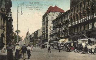 Budapest VII. Rákóczi út, Palace szálloda, automobil, villamos, N. M. Bp. (EK)