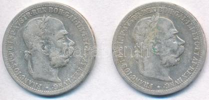 Ausztria 1900-1901. 1K Ag Ferenc József (2xklf) T:2- Austria 1900-1901. 1 Corona Ag Franz Joseph C:VF