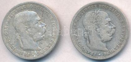 Ausztria 1893-1984. 1K Ag Ferenc József (2xklf) T:2-,3 Austria 1893-1894. 1 Corona Ag Franz Joseph (2xdiff) C:VF,F