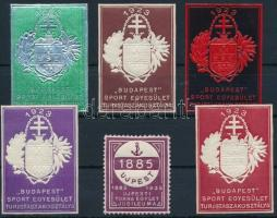 1923 Budapest Sport Egyesület 5 db klf színű dombornyomású bélyeg + 1935 Újpesti Torna Egyesület Jubileuma levélzáró