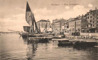 Rovinj, Rovigno; Riva Sottomuro / port ships (EK)