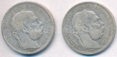 1894-1895KB 1K Ag Ferenc József (2xklf) T:3  Adamo K5