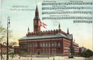 Copenhagen, Kobenhavn; Raadhuset med Klokkespillet / town hall, carillon, music sheet (EK)
