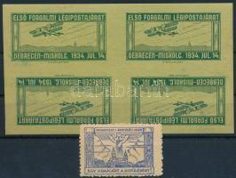 1914 Debrecen Repülő Club adománybélyeg + 1934 Első forgalmi légipostajárat Debrecen-Miskolc fordított állású 4-es tömb