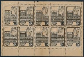 Pesterzsébet a Hadifoglyokért adománybélyeg 10 értékes kisív, középen hajtott