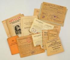 cca 1944-1945 Vegyes okmány és nyomtatvány tétel, benne igazolványok, okiratok.
