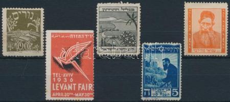 5 db klf héber nyelvű levélzáró és reklámbélyeg