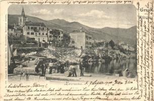 Lovran, Laurana; hordók pakolása a kikötőben / barrels in the port (EK)