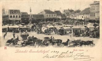 1899 Szombathely, heti vásár, piac, Stirling, Weimer József, Deutsch József és Társa üzletei (EK)