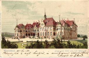 Marianske Lazne, Marienbad; Hotel und Cafe Rübezahl. G. Zischka litho (EK)
