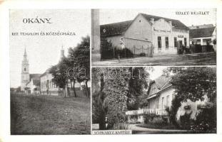 Okány, Református templom és községháza, üzlet, artézi fürdő, Schwartz kastély (EK)