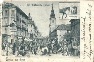 1899 Graz, Die Elektrische kommt! Pferdebahngäule ausser Dienst / omnibus versus tram, humorous postcard (EM)