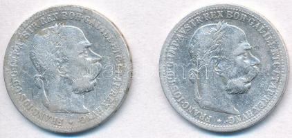 Ausztria 1899-1900. 1K Ag Ferenc József (2xklf) T:3 Austria 1899-1900. 1 Corona Ag Franz Joseph (2xdiff) C:F