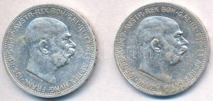 Ausztria 1912-1914. 1K Ag Ferenc József (2xklf) T:2,2- kis szennyeződés Austria 1912-1914. 1 Corona Ag Franz Joseph (2xdiff) C:XF,VF small stain