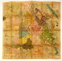 cca 1890 Bécs térkép vászonra kasírözva, kissé megviselt. / Map of Vienna on canvas 65x66cm