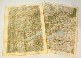 cca 1910 A Balaton térképe két részben 2 x 60x50 cm