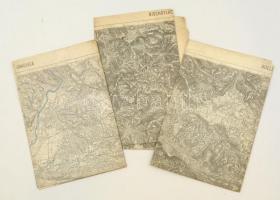 cca 1910 Horvát területek katonai térképe Bischoflack, Zagrab, Görz, Adelsberg 3 db