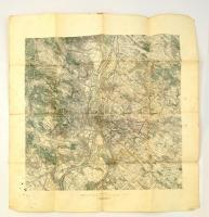 cca 1910 Budapest és környéke katonai térkép, Kissé megviselt 60x66 cm
