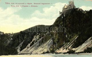 Óváralja, Óvár, Stary hrad; romladék a Vágnál, Sztrecsnói hegyiszoros, Feitzinger Ede No. 854 / castle ruins, gorge (EK)