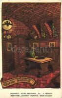 Budapest, vendéglők, belsők - 4 db régi képeslap, vegye sminőség / 4 pre-1945 postcards, mixed quality