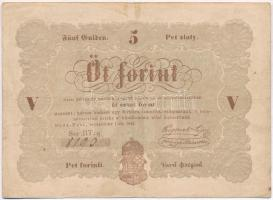 1848. 5Ft Kossuth bankó barna T:III