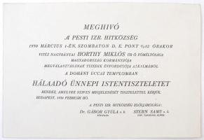 1930 Meghívó a Pesti Izraelita Hitközség vitéz Nagybányai Horthy Miklós megválasztásának tizedik évfordulója alkalmából a Dohány utcai templomban. 16×24 cm