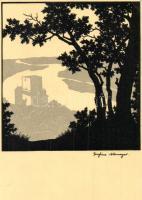 Aggstein castle ruins, Künstlerkarte Nr. 174. s: Josefine Ullmayer (EK)