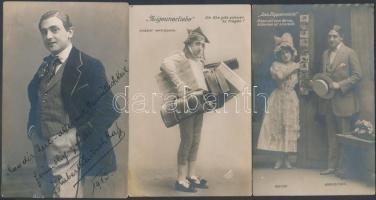 1913 Hubert Marischka (1882-1859) magyar színész 3 fotólap egyiken aláírással
