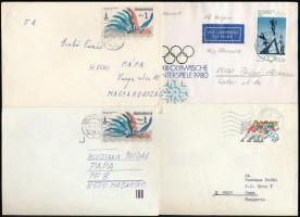 46 db vegyes külföldi levél és levelezőlap, benne 24 db sport motívumú bélyeggel bérmentesítve