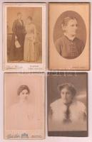 cca 1860-1900 10 db nőket ábrázoló régi keményhátú fotó, vizitkártya