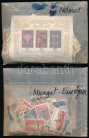 Vegyes külföldi országok több száz bélyeg földrészenként zacskózva, erős Nyugat-Európa, 4 db tasakban