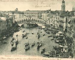 Venice, Venezia; Canal Grande a Rialto dopo la Regata, folding panoramacard