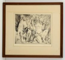 Pituk József Viktórián (1906-1991): Remeték. Rézkarc, papír, jelzett, üvegezett keretben, 24×31 cm