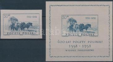 1958 400 éves a lengyel posta kiállítás Mi 1085 + blokk Mi 22