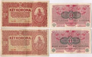 1916. 1K (2x) mindkettő DEUTSCHÖSTERREICH felülbélyegzéssel + 1920. 2K (2x) 2aa T:III szép papír