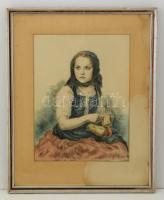Glatz Oszkár (1862-1958)-Prihoda István (1891-1956): Almát hámozó lány. Színezett rézkarc, papír, jelzett, üvegezett keretben, 37×27 cm