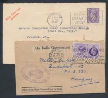 5 db angol levél, közte céglyukasztásos bélyeggel