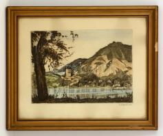 Zádor István (1882-1963): Visegrád. Színezett litográfia, papír, jelzett, üvegezett keretben, 32,5x41 cm