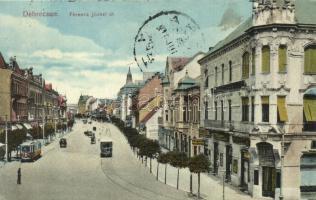 Debrecen, Ferenc József út, Killer Ede üzlete, villamosok (EK)