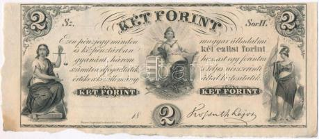 1852. 2Ft Kossuth bankó H kitöltetlen, ívszéllel T:I- kis fo. Hungary 1852. 2 Forint H without date and serial number, with left margin C:AU small stain Adamo G123
