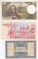 Vegyes 5db-os bankjegy tétel, benne Svédország 1968. 10K + Uruguay 1939. 1P + Hollandia 1938. 2.50G + Suriname 1998. 10G + Franciaország 1971-1973. 10F T:I-III