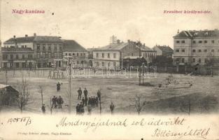 Nagykanizsa, Erzsébet királyné tér, Reichenfeld Albert üzlete, kiadja Schless Antal