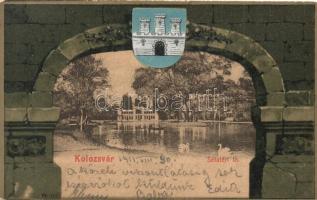 Kolozsvár, Cluj; Sétatéri tó, Rigó Árpád címeres litho lapja / lake, coat of arms, litho
